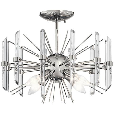 "Kichler Eris 16""W 4-Light Nickel and Crystal Ceiling Light"