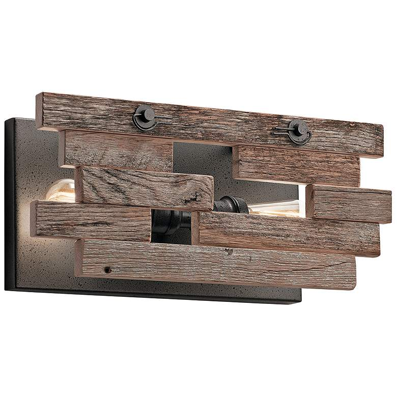 """Kichler Cuyahoga Mill 7 1/2""""H Anvil Iron 2-Light Wall Sconce"""