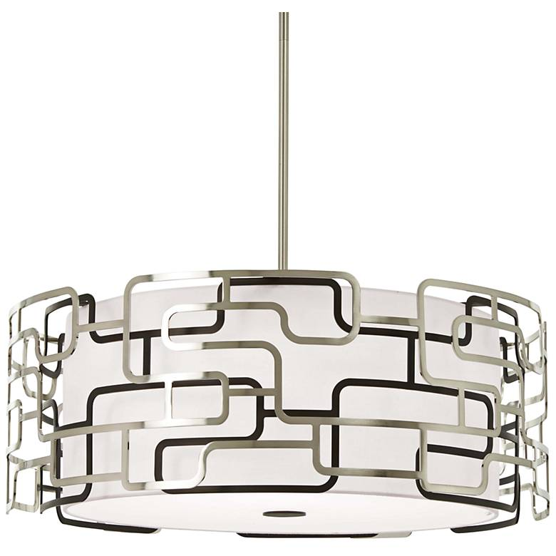 """Alecia's Tiers 25"""" Wide Nickel and Bronze LED Pendant Light"""