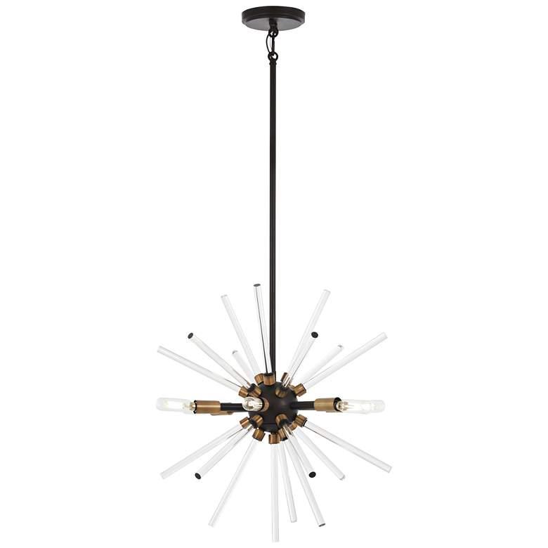 "Spiked 18"" Wide Brass and Crystal Modern Sputnik Pendant"