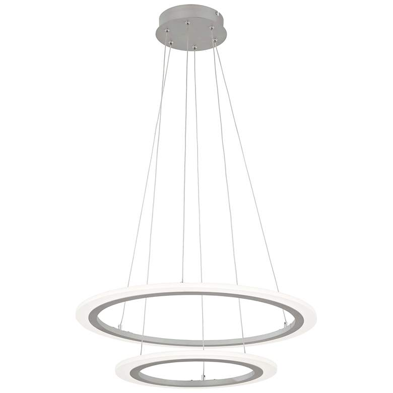 """Discovery 23 3/4"""" Wide Silver 2-Tier LED Pendant Light"""