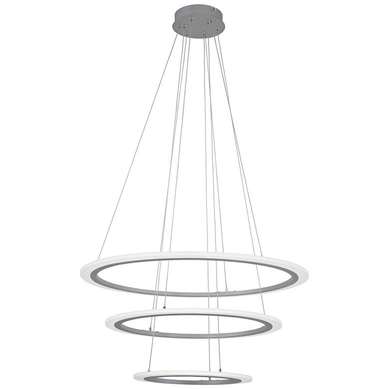 """Discovery 31 1/4"""" Wide Silver 3 Ring LED Pendant Light"""
