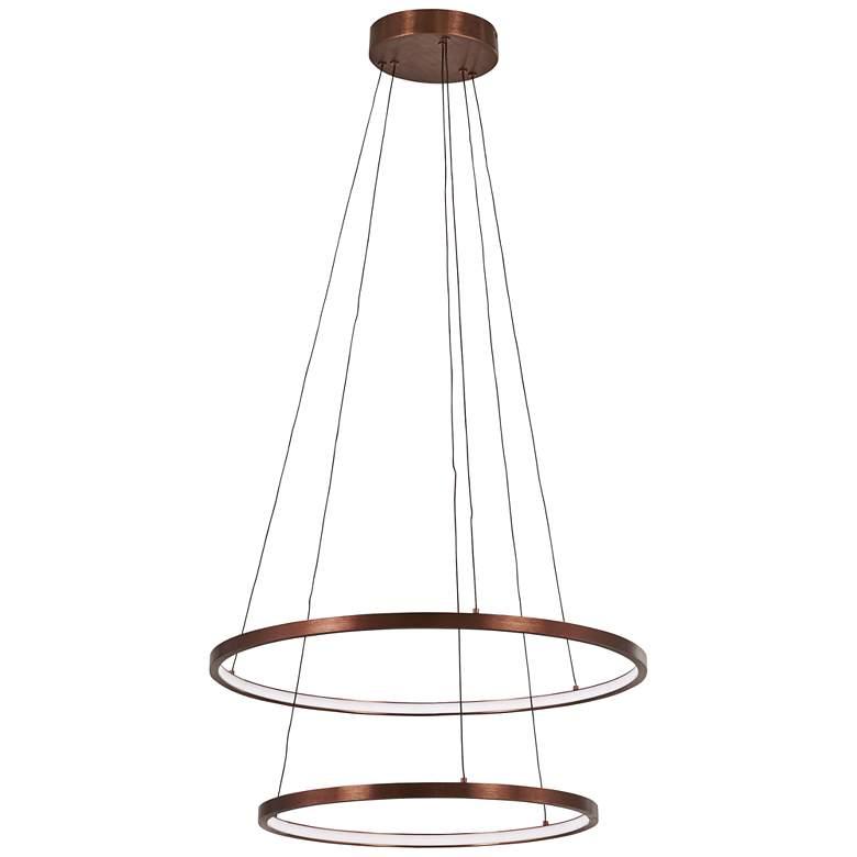 """Full Orbit 23 3/4"""" Wide Satin Bronze 2-Light LED Pendant"""