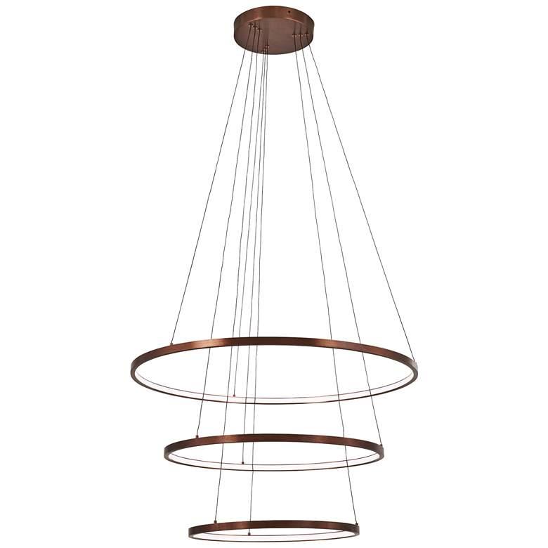 """Full Orbit 31 1/2"""" Wide Satin Bronze 3-Light LED Pendant"""