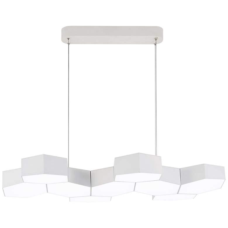"""Hexacomb 32 1/2"""" Wide White LED Kitchen Island"""