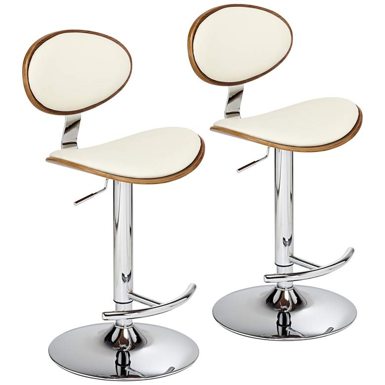 Torrioni Cream Leather Adjustable Swivel Bar Stools Set of 2