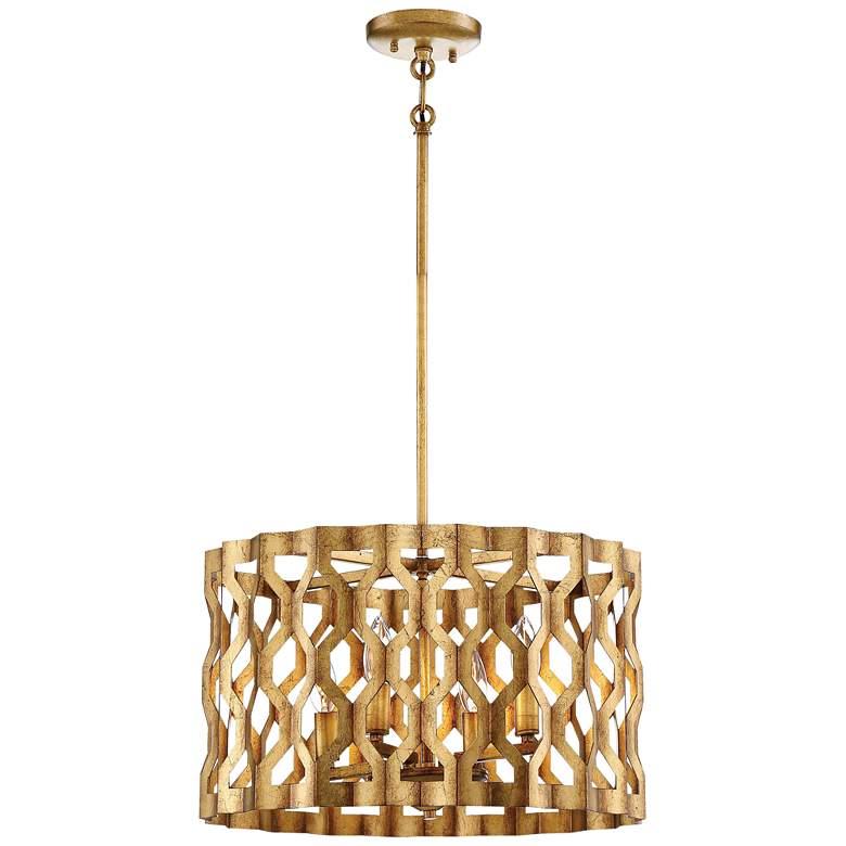 "Metropolitan Coronade 18""W 4-Light Pandora Gold Leaf Pendant"