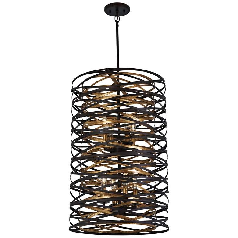 "Vortic Flow 18""W Dark Bronze and Mosaic Gold 8-Light Pendant"