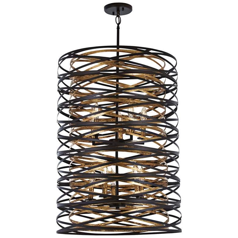 """Vortic Flow 21"""" Wide Dark Bronze and Gold 10-Light Pendant"""