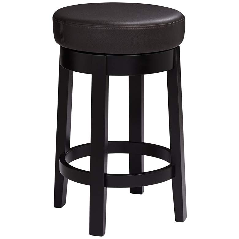 """Cedric 26"""" Brown Bonded Leather Swivel Counter Stool"""