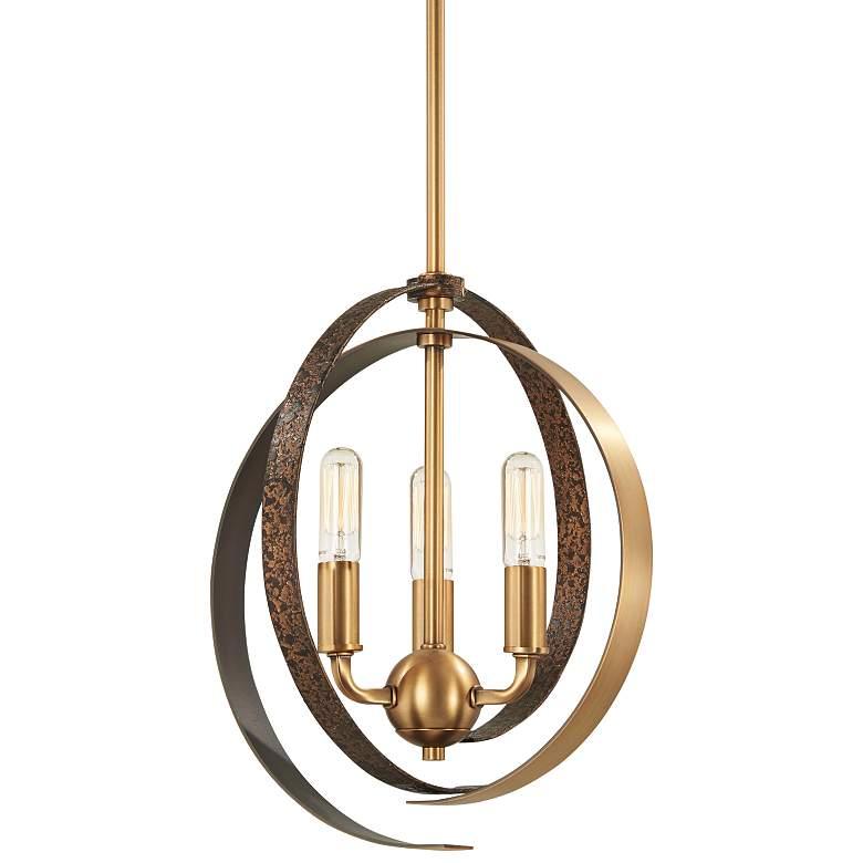 "Criterium 12""W Brass and Textured Iron 3-Light Mini Pendant"