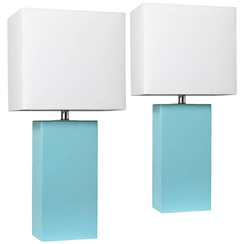 Elegant Designs Aqua Leather Table Lamps Set of 2