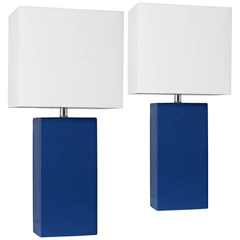 Elegant Designs Blue Leather Table Lamps Set of 2