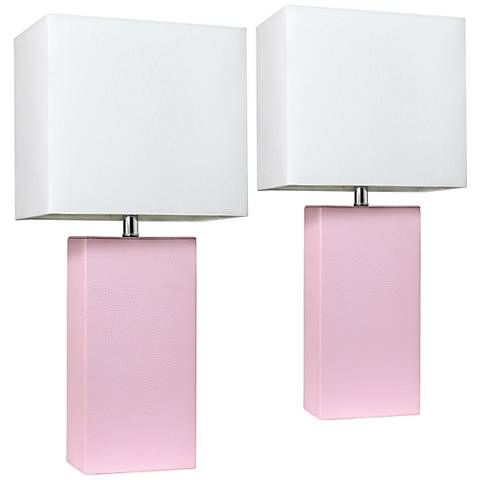 Elegant Designs Blush Pink Leather Table Lamps Set of 2