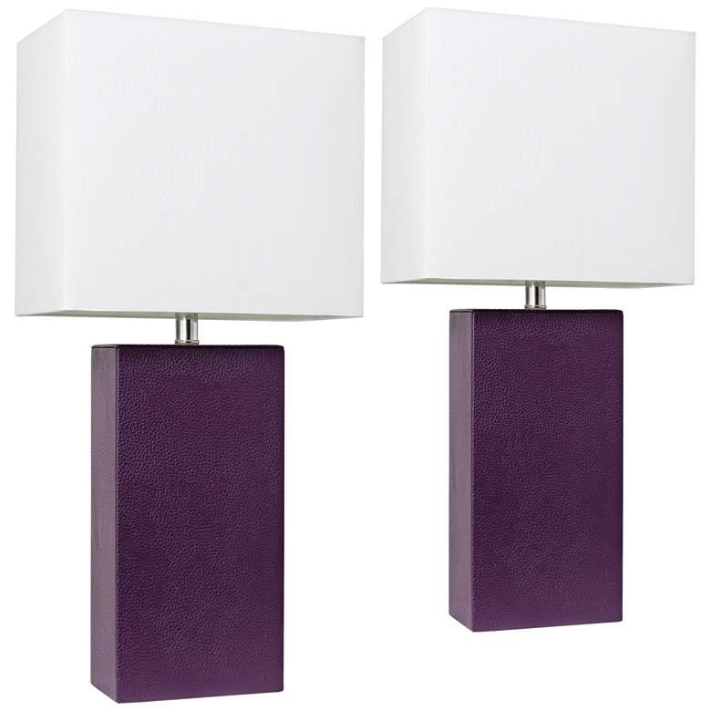 Elegant Designs Eggplant Leather Table Lamps Set of