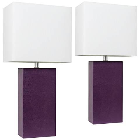 Elegant Designs Eggplant Leather Table Lamps Set of 2
