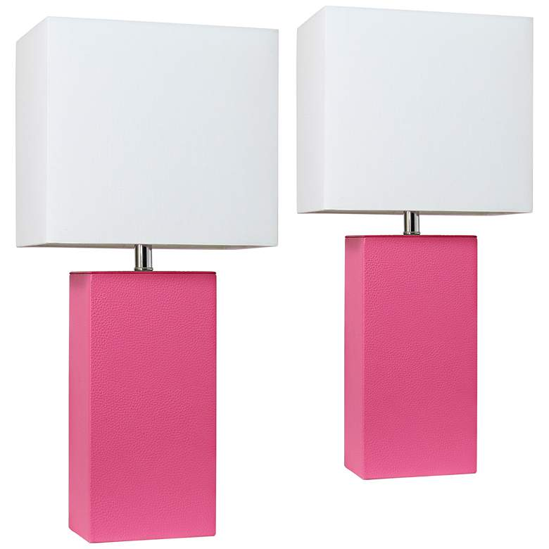 Elegant Designs Hot Pink Leather Table Lamps Set