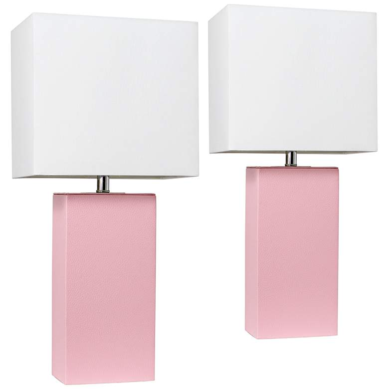Elegant Designs Pink Leather Table Lamps Set of 2