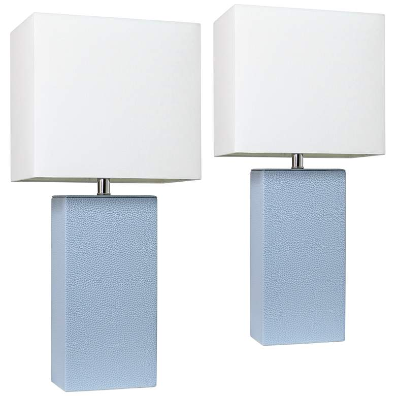 Elegant Designs Periwinkle Blue Leather Table Lamps Set of 2