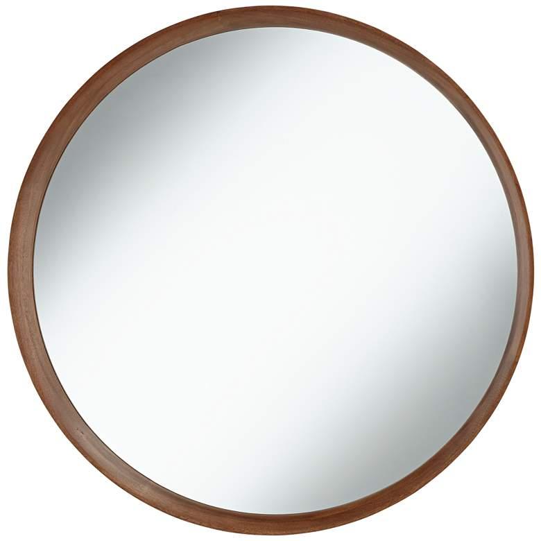 """Kieran Golden Walnut 31 1/2"""" Round Wall Mirror"""