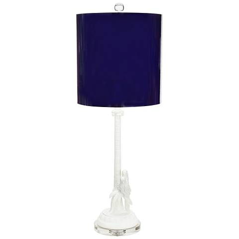 Couture Parrot + Palm Gloss White and Indigo Table Lamp