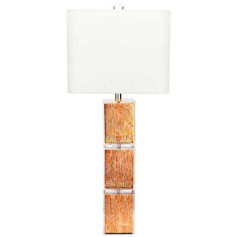 Couture Copper Leaf and Clear Crystal Table Lamp