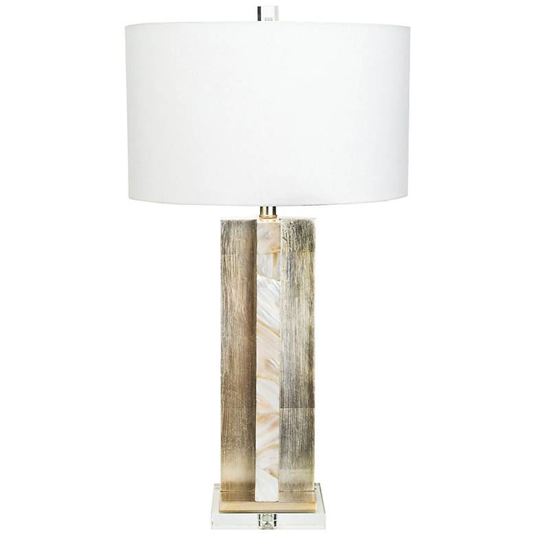 Chesney Antique Silver Leaf and Mother Of Pearl Table Lamp
