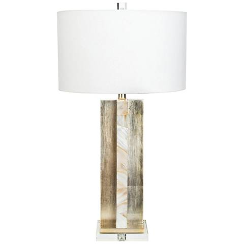 Chesney Antique Silver Leaf And Mother Of Pearl Table Lamp 58g89