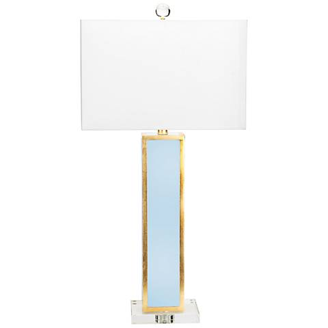 Couture Blair Glossy Blue Lacquer and Gold Leaf Table Lamp