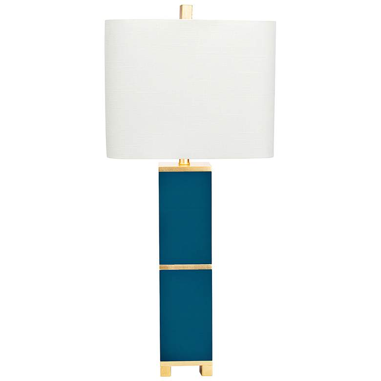 Couture Glossy Peacock Teal and Gold Leaf Table Lamp