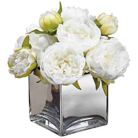 "White Peonies 14 1/4"" High Faux Flowers in Glass Container"