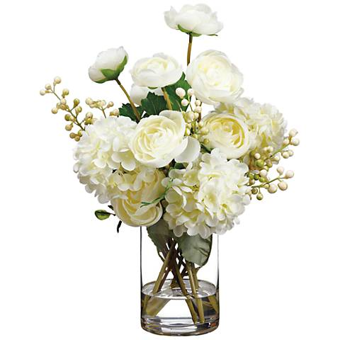 """Ranunculus, Hydrangeas and Berry 15""""H Faux Flowers in Vase"""