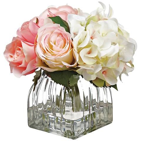 """Pink Hydrangeas, Rose and Peony 11""""H Faux Flowers in Vase"""