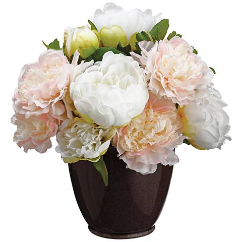 """Pink Peony and Ranunculus 14 1/4"""" High Faux Flowers in Vase"""