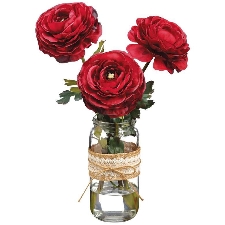 "Burgundy Ranunculus 15"" High Faux Flowers in Glass Vase"