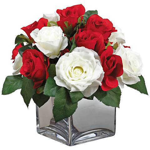 "Red and White Roses 14 1/4"" High Faux Flowers in Container"