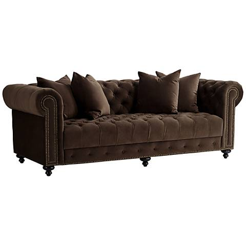 Jules 90 W Chocolate Brown Velvet Tufted Chesterfield Sofa