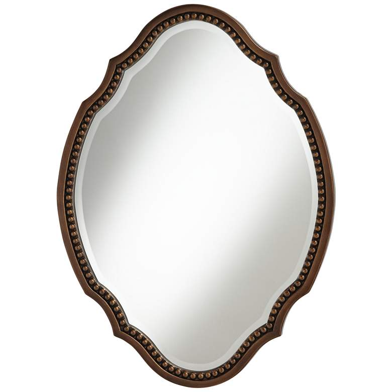 "Arabela Bronze Beaded 25 3/4"" x 35 1/2"" Oval Cut Mirror"