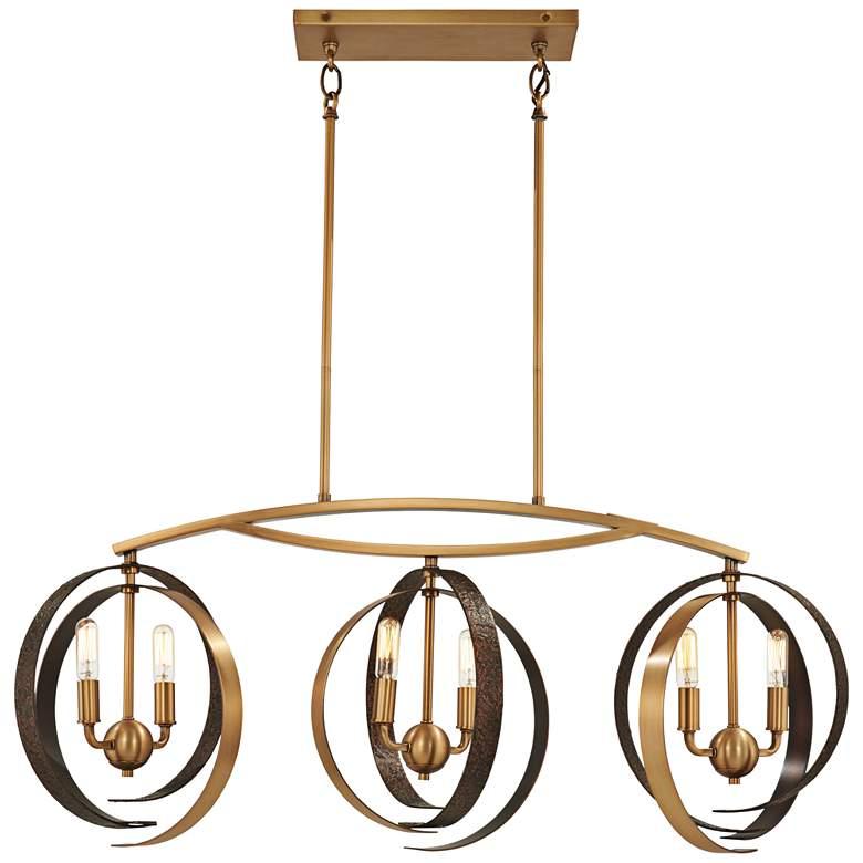 "Criterium 40""W Brass and Iron Kitchen Island Light Pendant"