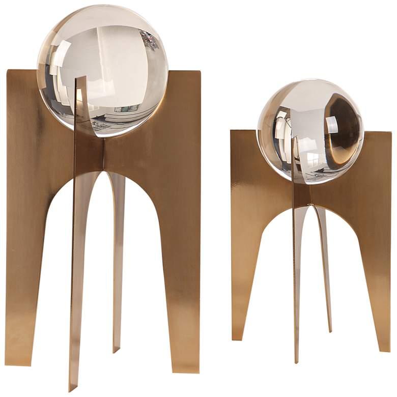 "Ellianna 15 3/4""H Crystal Sphere Sculpture Set of 2"