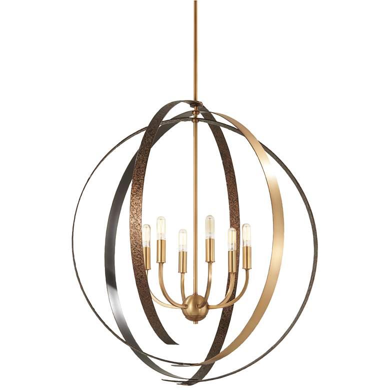 "Criterium 30""W Aged Brass and Textured Iron 6-Light Pendant"