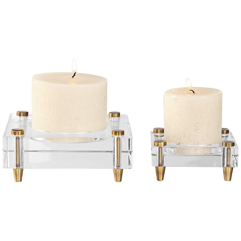 Claire Brass and Crystal Pillar Candle Holder Set of 2