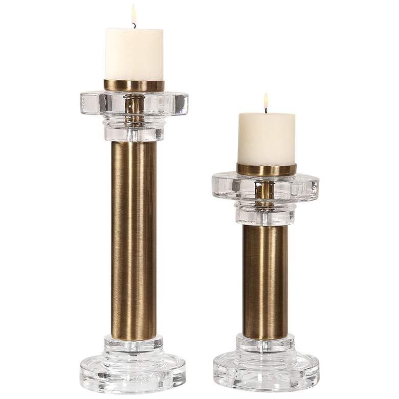 Uttermost Leslie Brushed Brass Pillar Candle Holder Set of 2