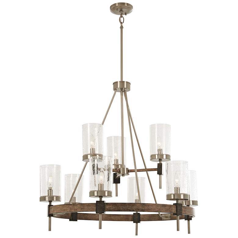 """Bridlewood 32"""" Wide Stone Gray and Nickel 9-Light Chandelier"""