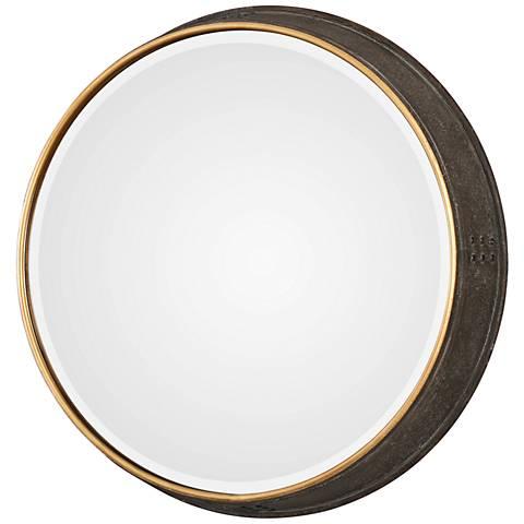 """Uttermost Sturdivant Dark Bronze 26 1/2"""" Round Wall Mirror"""