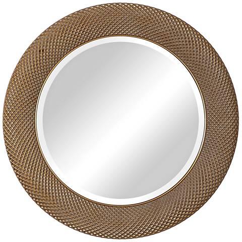 "Uttermost Aziza Metallic Gold 35"" Round Wall Mirror"