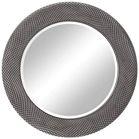 "Uttermost Aziza Metallic Silver 35"" Round Wall Mirror"