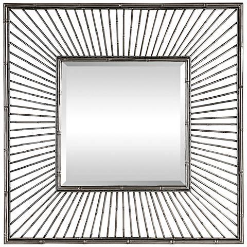 """Anji Metallic Silver 39"""" Square Oversized Wall Mirror"""
