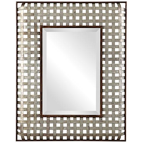 "Fabelle Galvanized Metal 28 1/4"" x 36 1/4"" Wall Mirror"