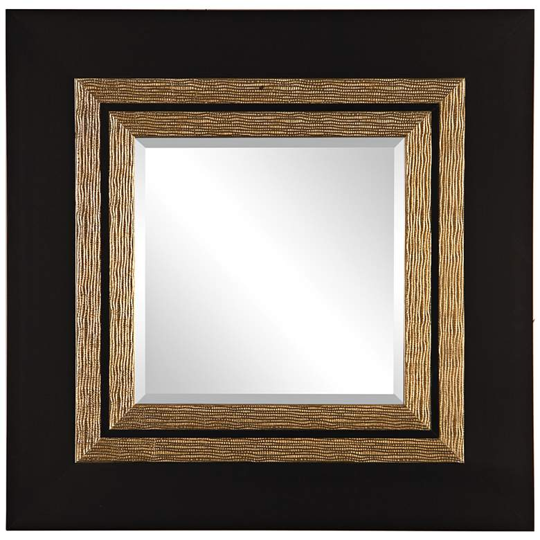 """Faisal Black and Champagne 42"""" Square Oversized Wall Mirror"""